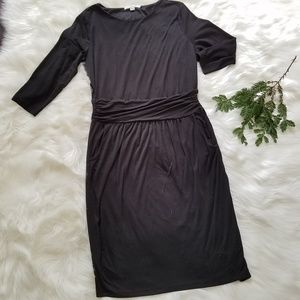 Boden Rayon Knit Sash Waist Black Midi Dress sz12